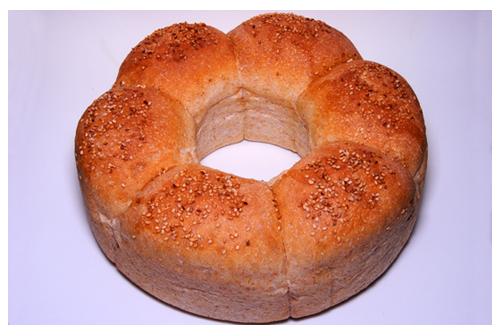 Corona de pan de molde integral