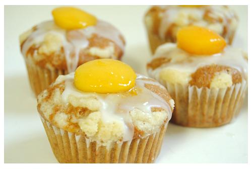 Muffins de melocotón en almíbar
