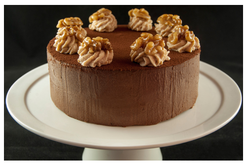 Tarta mousse de chocolate y nueces
