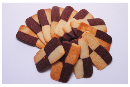 Galletas damero de naranja y chocolate