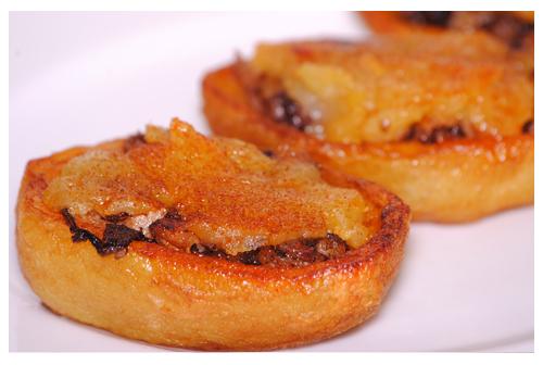 Barquitas de patata y morcilla